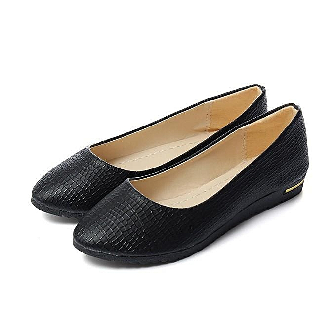 dbb36321f7c Womens Leather Slip On Flats Loafers Casual Ballet Ballerina Shoes Single  Shoes black