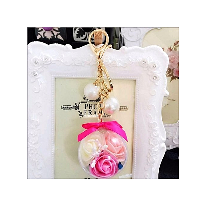 Fashion Transparent Ball 3 Rose Flower Unique Women s Keychain Handbag  Ornaments Daily Crystal Gold Plated Key Ring Car Hanger (Fuchsia) e55e8f956c