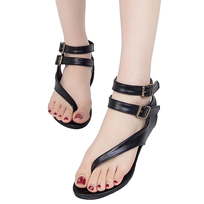 f66b345bd Generic Women Summer Strappy Gladiator Low Flat Heel Flip Flops Beach Sandals  Shoes A1