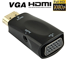Full Hd 1080p Hdmi To Vga And Audio Adapter For Hdtv / Monitor / Projector(black)