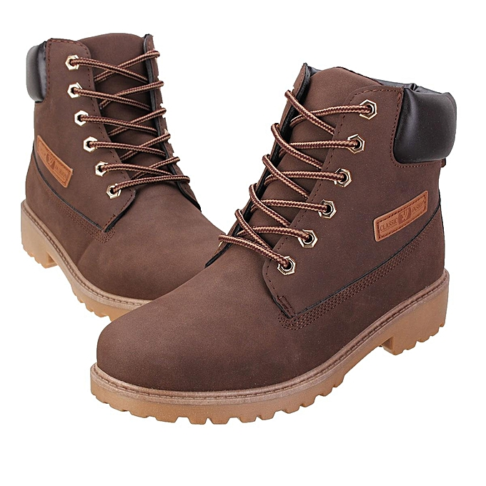 202cd8d3f0b Work Boots Men's Winter Leather Boot Outdoor Waterproof Rubber Snow Martin  Boot Brown-EU