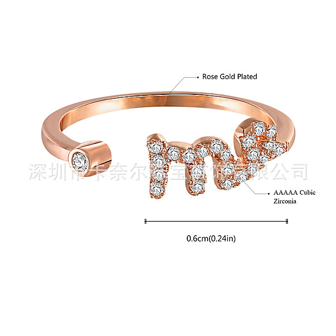 12 constellations ring Virgo electroplated Rose Gold Diamond lady open  ring-Taurus > adjustable opening