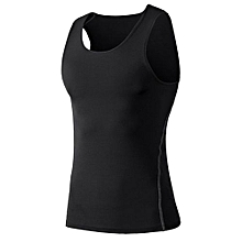 TB Comfortable Men Sport Training Slim Body Vest Quick Drying Basketball black