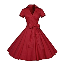 Lapel Big Hem Party Dress With Belt - Red
