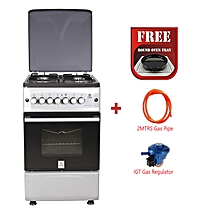 Free Standing Cooker, 4 Gas Burners, Electric Oven MST55PI4GSL/HC, 50 X 55, Silver Grey, With Free Oven Tray, Gas Pipe and 13Kg Gas Regulator