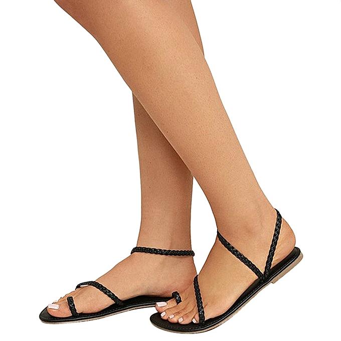 b67b94a0fa5dfe Hiamok Women Summer Strappy Gladiator Low Flat Heel Flip Flops Beach Sandals  Shoes ...
