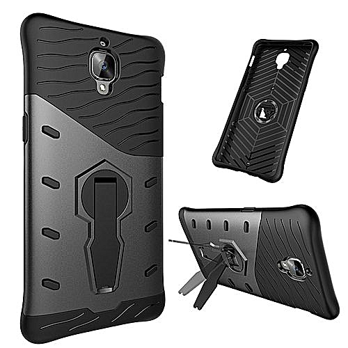 newest 0c505 01ff9 For OnePlus 3T Shock-Resistant 360 Degree Spin Tough Armor TPU + PC  Combination Case With Holder(Black)