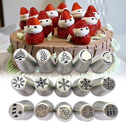Generic Christmas Tree Icing Piping Tips Russian Leaf Nozzle Cupcake