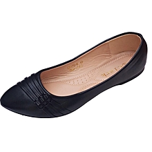 Women PU Leather Flat Shoes -Black