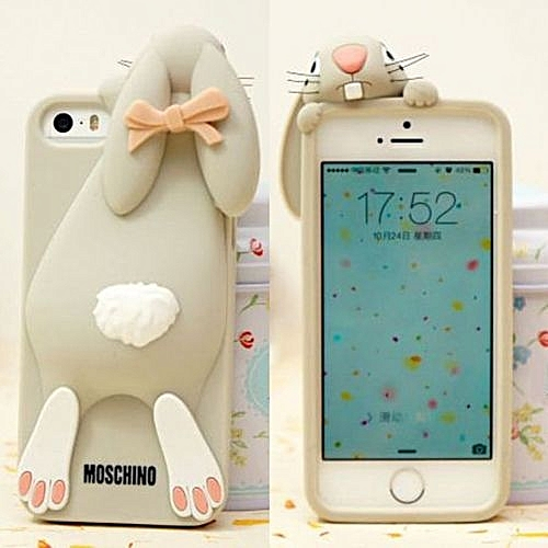 new arrival 68714 11541 Moschino Rabbit Silicone Cute 3D Case Soft Cover For Apple Iphone 4/4s  5/5s-grey