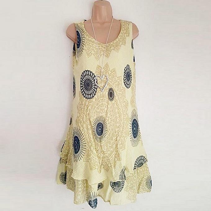 7fc865c40 Generic Vintage Women Sleeveless Mini Dress Bohemian Print Loose ...