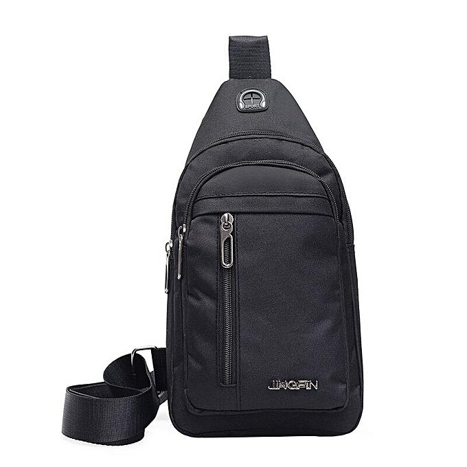 f8d2fb5af8 Men Canvas Messenger Bag Male Versatile Casual Crossbody Bag Small Bag Wild  Plaid Chest Shoulder Bag For Man 2019 Solid Color(Black)