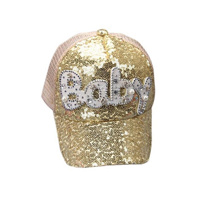 a9fa1f66 Child Kids Shining Sequins Baseball Cap Adjustable Snapback Hat GD-Gold