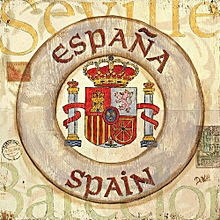 Canvas Print Nautical Wall Picture 40X40cm Rolled -  Spain Coat Of Arms Painting
