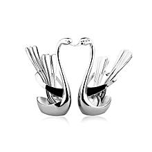 KCASA Swan Stainless Steel Fruit Food Fork Spoon Knife Base Holder Set Creative Gift Flatware