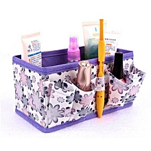 Makeup Cosmetic Storage Bag Bright Organiser Foldable Stationary Container Purpl