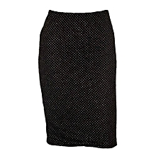Black Floral Lace Skirt With Gold Dots