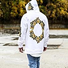 Men's Hoodie Sweatshirt Hooded Tops Jacket Coat Outwear Pullover White/L-White