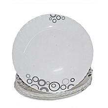 6 Piece Soup Plate Set - White with Black Circles & Misty Drops.