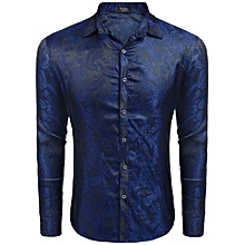 Men's Long Sleeve Floral Casual Dance Prom Party Button Down Shirt