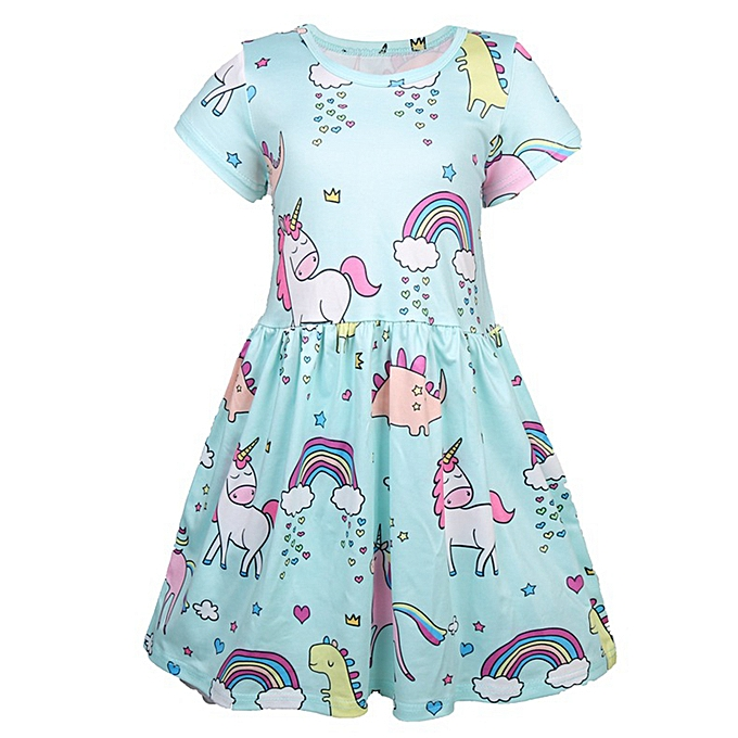bc96fd1f21a Toddler Kids Baby Girls Dresses Cartoon Unicorn Party Pageant Dress Sundress