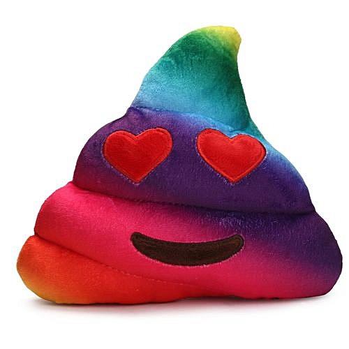 Braveayong Amusing Emoji Emoticon Cushion Heart Eyes Poo Shape Pillow Doll  Toy Gift -Multicolor