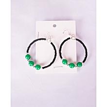 Maasai Beaded Round Earrings Black And 3 Big Green Beads Kenyan Handmade African Cultural Lady Earring Office Casual Wear