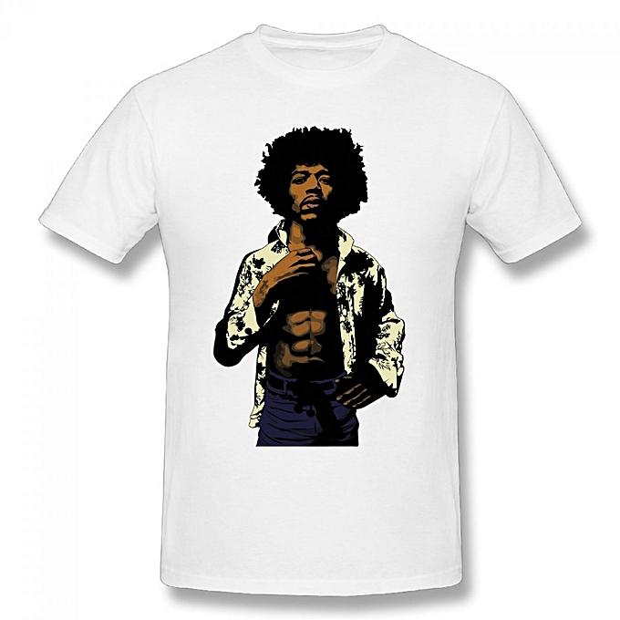 3273396d9b4 Generic Jimi Hendrix Canvas Men s Cotton Short Sleeve Print T-shirt White