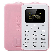 AIEK C6 Ultra Thin Mini Bluetooth GSM Candy Color Credit Card Mobile Phone Pink