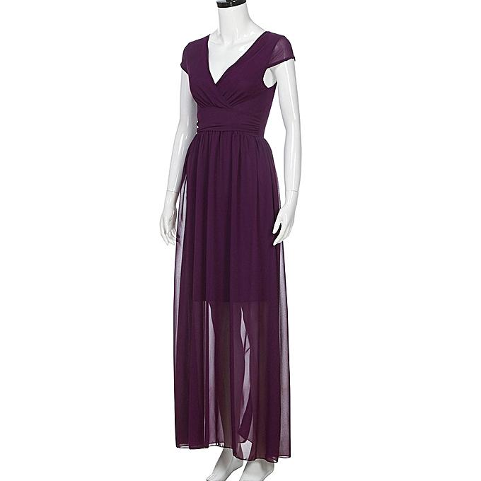 ... Xiuxingzi Fashion Women Casual Solid Chiffon V-Neck Evening Party Long  Dress ... faaa36436e87