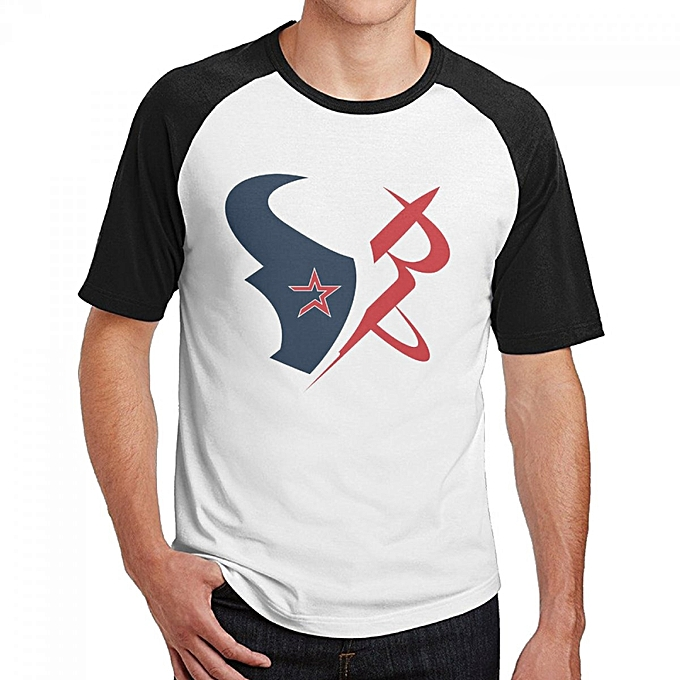 on sale bed3e 7cd98 Houston Texans Astros Rockets Logos Men's Cotton Short Baseball Raglan  Sleeves T-Shirt Black