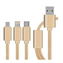 Type-C three -in-one Mobile Phone Data Cable a Drag three Mobile Phone USB Charging Line Long 1.2M(gold)
