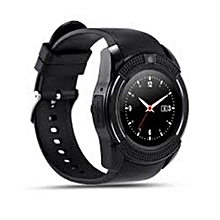 """V8 1.22"""" Round Screen MTK6261 IP65 Android Bluetooth Smart Watch With Sim card Toolkit - Black"""