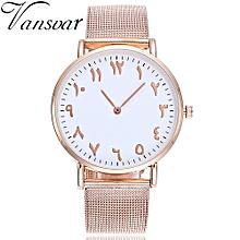 vansvar Casual Quartz Stainless Steel Band Arabic Numbers Analog Wrist Watch