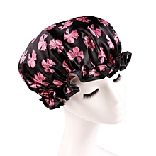 Women Shower Caps Colorful Bath Shower Hair Cover Adults Waterproof Bathing -Black