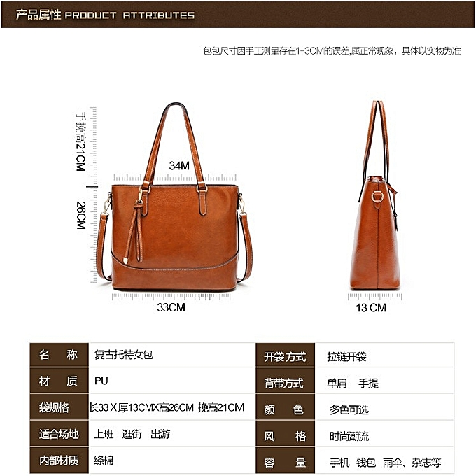 3ba868e1b8d1 ... French simple retro tote bag for ladies oil wax leather waterproof  casual shoulder bag