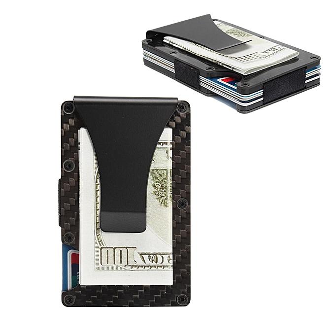 62e3ef1137b351 Slim Carbon Fiber Credit Card Holder RFID Non-scan Metal Wallet Money Clip  Purse