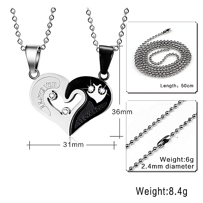 Titanium steel couple jewelry heart-shaped pendant-Steel-Blue (Containing  Chains)