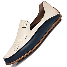 Leather Men's Flats Shoes Breathable Casual Loafers Slip-On White