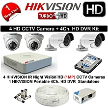 FULL COMPLETE 4 CAMERA SET WITH DVR, CABLE, HARD DISK & ACCESORIES