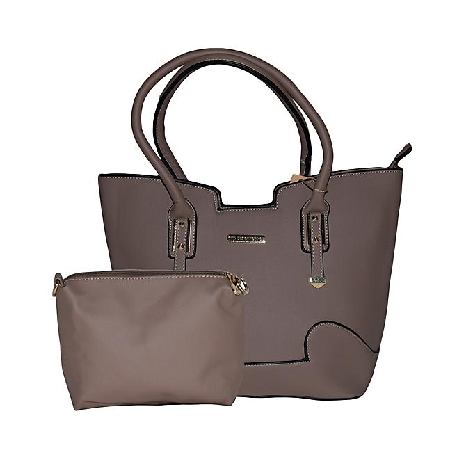 2 In 1 Beige Classy Leather Handbag