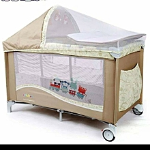 Baby Travel Cot, Foldable Playpen, Baby Crib - Light Brown