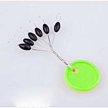 100pcs/Set Black Water Float Cylinder Fishing Bobber Ring Line Stopper 6 In 1