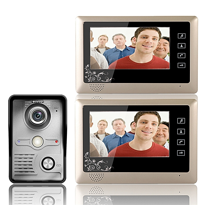 ENNIO SY809MKW12 7 Inch Video Door Phone Doorbell Intercom System 1 Camera 2 Monitor