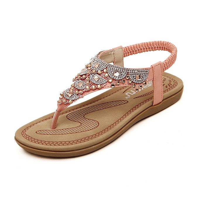 ac9a0a56e757e new Women s Thong Sandals Summer Crystal Design Back Strap female Causal Beach  Flip Flops Flats Shoes ...