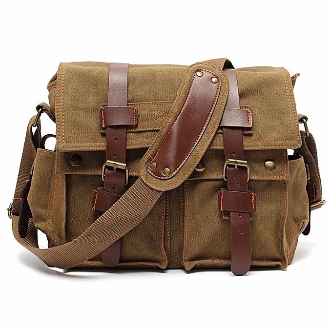 5945e1e7d267 Men s Vintage Canvas Leather Military Large Shoulder Messenger Bag Khaki