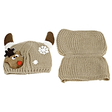 Lovely Horn Snow Deer Pattern Christmas Knitted Warm Hat with Scarf for Babies-OFF-WHITE