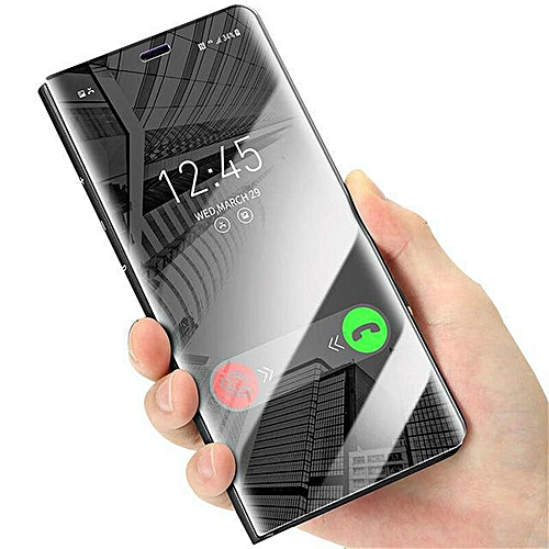 on sale 3ead7 705bb For Xiaomi Redmi 5 Plus Flip Cover Case Luxury Plating Smart Clear View  Mirror Transparent Housing For Redmi 5 Plus Casing (Black)