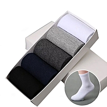 5 Pair Mens Multicolor Business Sock Breathable Athletic Cotton Crew Socks