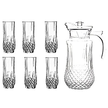 Tableware Serving Crystal Juice/Water Glasses Jug Set - 7pcs